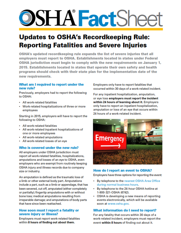 Updates to OSHA's Recodkeeping Rule: Reporting Fatalities ...