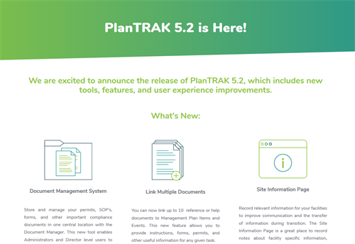 Plan TRAK 5.2 Announcement Page